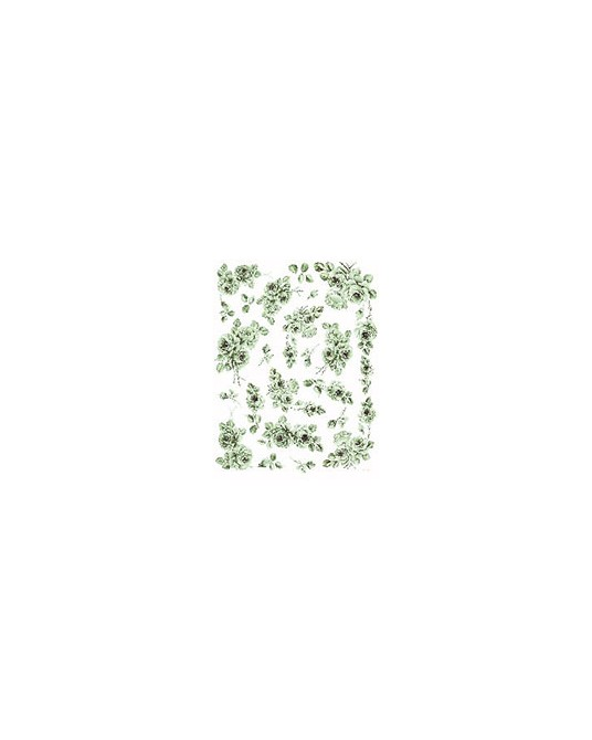 carta da decoupage cm 30x42 rose monocolore verde piccoli