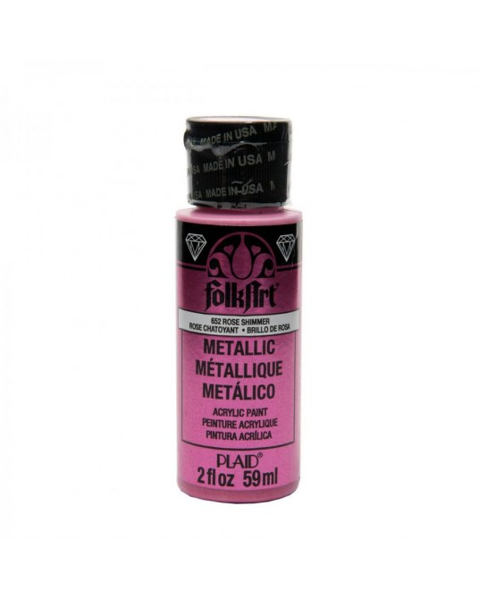 Rosa Acceso 59 ml colore acrilico metallizzato PLAID 652