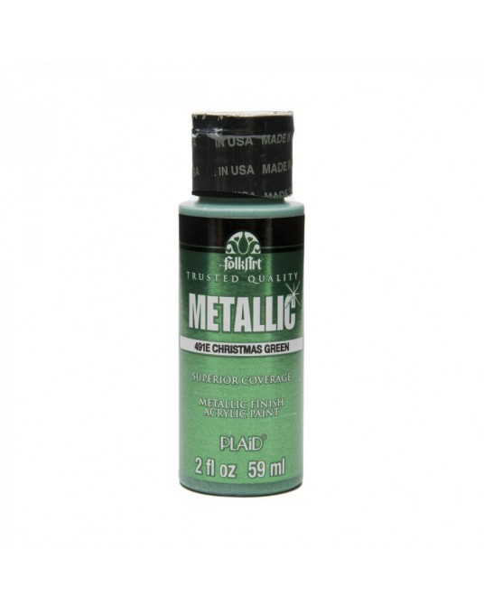 Verde natale 59 ml colore acrilico metallizzato PLAID 491