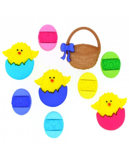 bottoni dress it easter basket da cm 1 a 3  pz 9