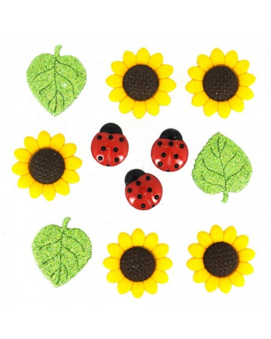 bottoni dress it up sunflowers da cm 1,5 a 2,5 pz 11