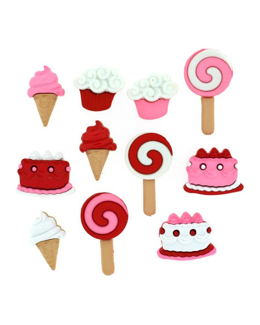 bottoni dress it up sweet tooth da 1  cm a 2,5 pz 9 mancano i 2 cupcake