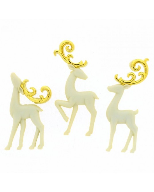 bottoni dress it up majestic reindeer 3 pz cm 2x4