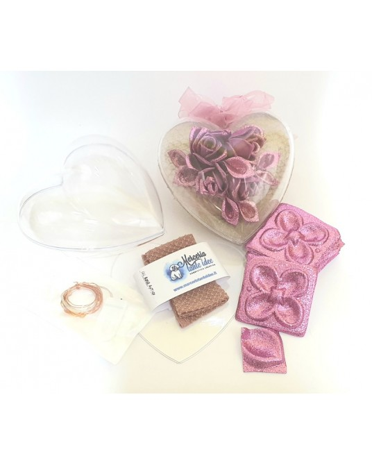 kit cuore con rose malva
