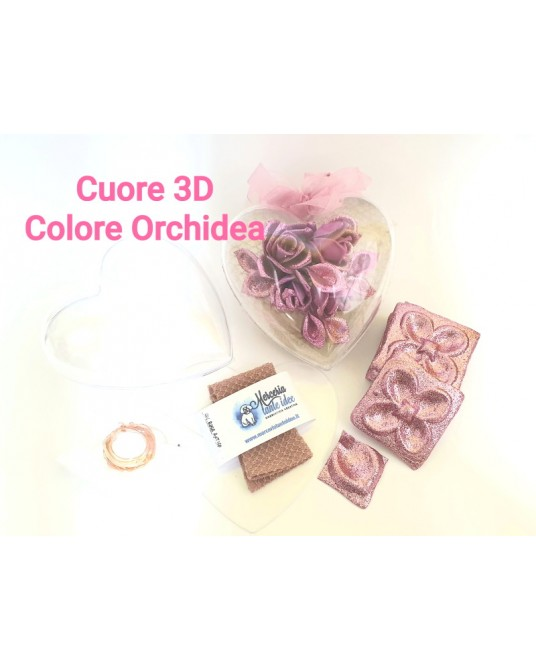 kit cuore con rose orchidea