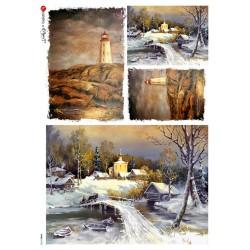 carta di riso per decoupage 32x45  paesaggio invernale e faro