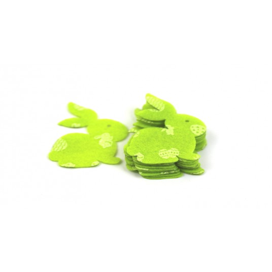 conf. 10 conigli fustellati cm 5x6 10 pistacchio con oggetti pasquali