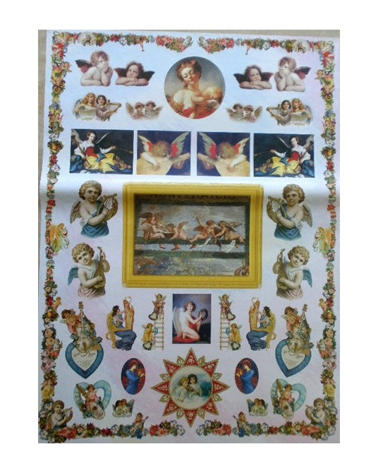 carta da decoupage cm 50x70 angels and music
