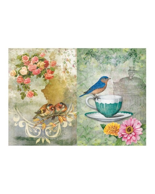 carta di riso per decoupage 33x48 design con fiori, tazza del the