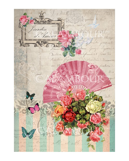 carta di riso per decoupage 33x48 farfalle colorate, ventaglio e bouquet di rose
