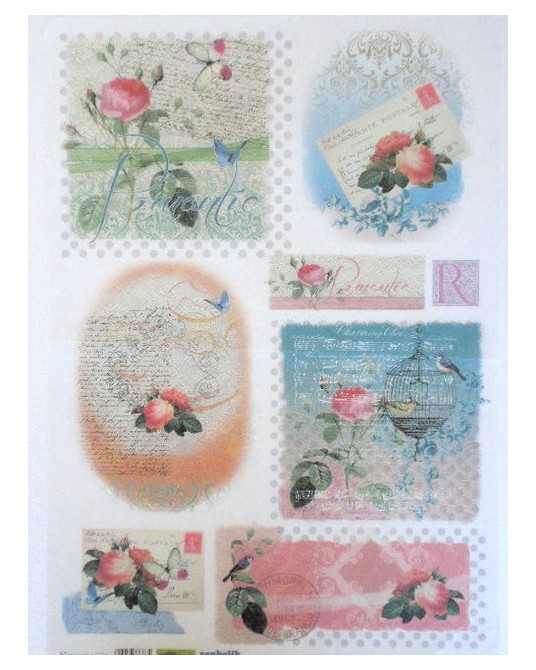 carta di riso per decoupage 35x50 romantic