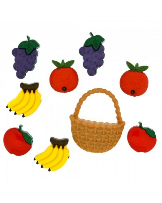 bottoni decorativi americani fruit salad frutta cm 1,5-2 cesto cm 3x3,5