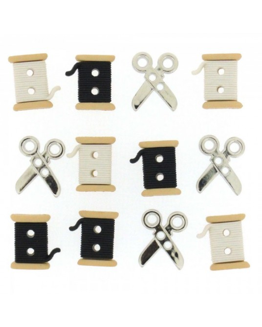 bottoni decorativi americani sew cute spools scissors