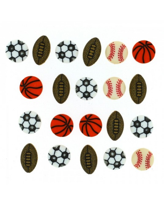 bottoni decorativi americani tiny sports equipment cm 1 - 1,5