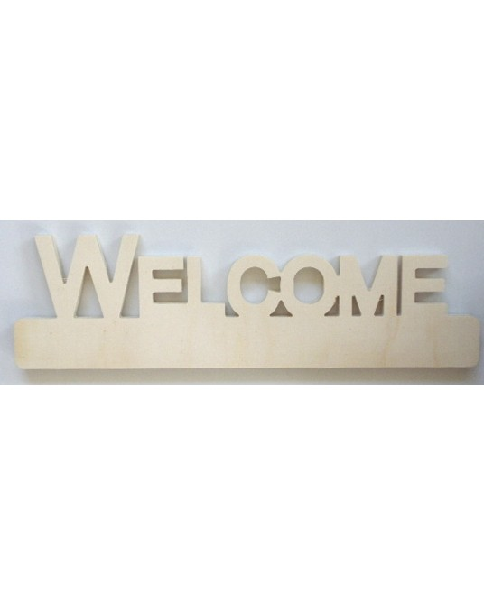 scritta in legno da decorare WELCOME cm 45x13 spess. 1,5