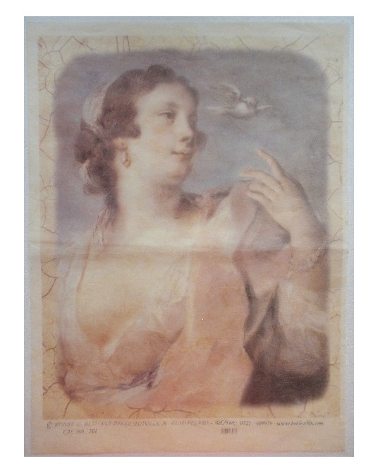 carta di riso per decoupage 30x42  donna affresco