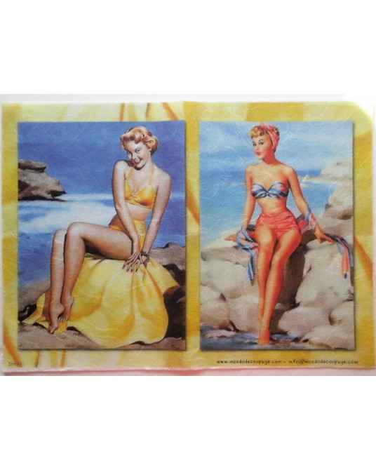 carta di riso per decoupage 30x42 pin up in costume