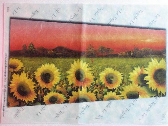 carta di riso per decoupage 30x42 paesaggio con girasoli | eBay